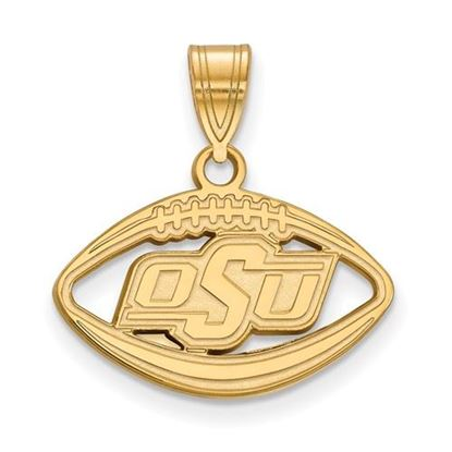 Picture of Oklahoma State University Cowboys Sterling Silver Gold Plated Football Pendant
