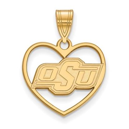 Picture of Oklahoma State University Cowboys Sterling Silver Gold Plated Heart Pendant