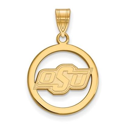 Picture of Oklahoma State University Cowboys Sterling Silver Gold Plated Small Circle Pendant