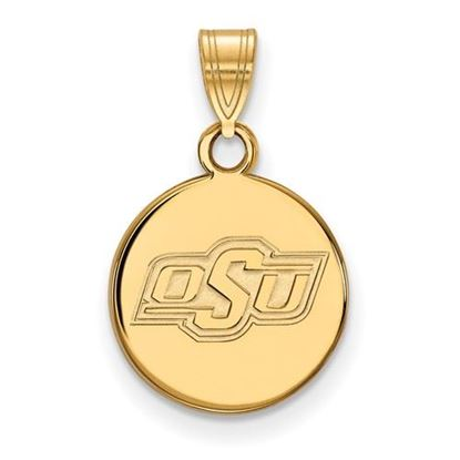 Picture of Oklahoma State University Cowboys Sterling Silver Gold Plated Small Disc Pendant