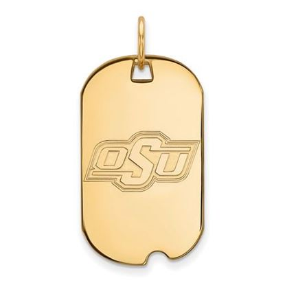 Picture of Oklahoma State University Cowboys Sterling Silver Gold Plated Small Dog Tag