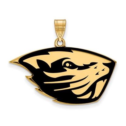 Picture of Oregon State University Beavers Sterling Silver Gold Plated Large Enameled Pendant