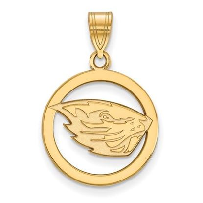 Picture of Oregon State University Beavers Sterling Silver Gold Plated Small Circle Pendant