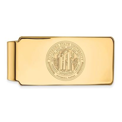 Picture of Pittsburgh State University Gorillas Sterling Silver Gold Plated Crest Money Clip