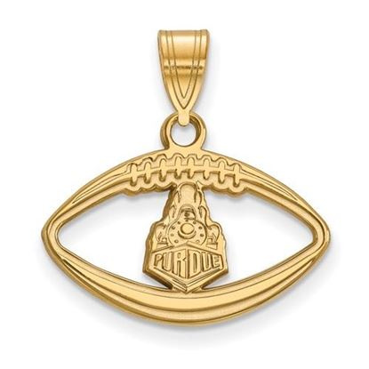 Picture of Purdue University Boilermakers Sterling Silver Gold Plated Football Pendant