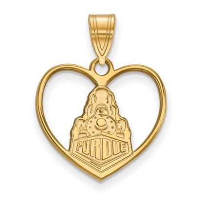 Picture of Purdue University Boilermakers Sterling Silver Gold Plated Heart Pendant