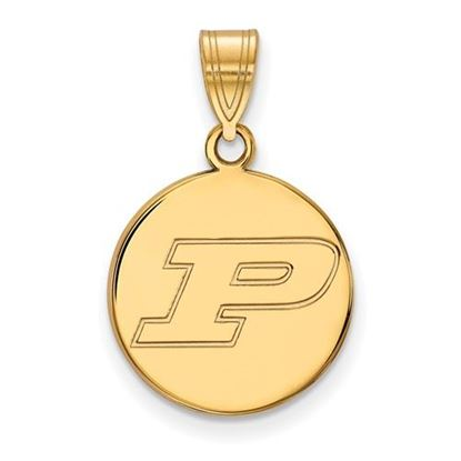 Picture of Purdue University Boilermakers Sterling Silver Gold Plated Medium Disc Pendant