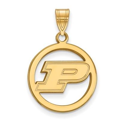 Picture of Purdue University Boilermakers Sterling Silver Gold Plated Small Circle Pendant