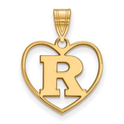 Picture of Rutgers University Scarlet Knights Sterling Silver Gold Plated Heart Pendant