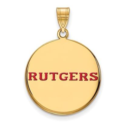 Picture of Rutgers University Scarlet Knights Sterling Silver Gold Plated Large Enameled Disc Pendant