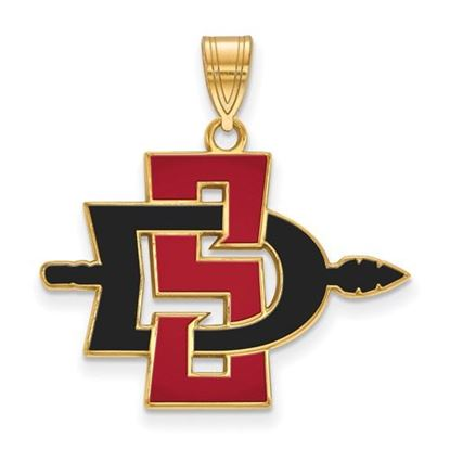 Picture of San Diego State University Aztecs Sterling Silver Gold Plated Large Enameled Pendant