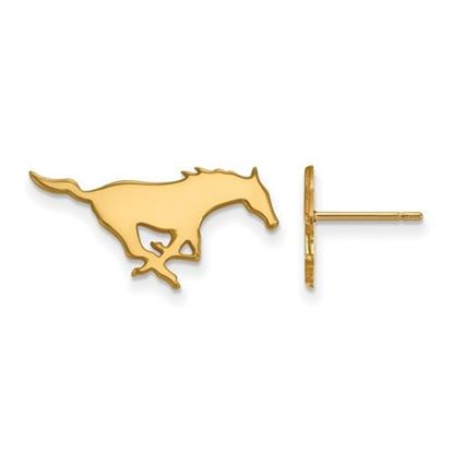 Picture of Southern Methodist University Mustangs Sterling Silver Gold Plated Small Post Earrings