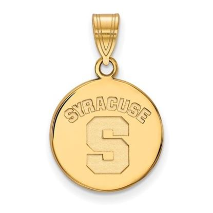 Picture of Syracuse University Orange Sterling Silver Gold Plated Medium Disc Pendant