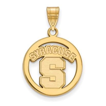 Picture of Syracuse University Orange Sterling Silver Gold Plated Small Circle Pendant