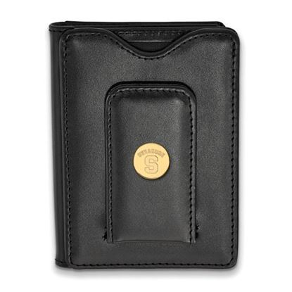 Picture of Syracuse University Orange Sterling Silver Gold Plated Black Leather Wallet