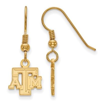 Picture of Texas A&M University Aggies Sterling Silver Gold Plated Extra Small Dangle Earrings