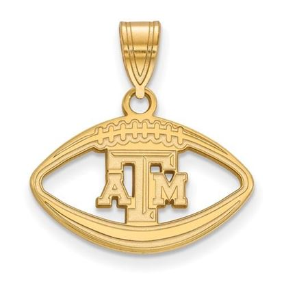 Picture of Texas A&M University Aggies Sterling Silver Gold Plated Football Pendant