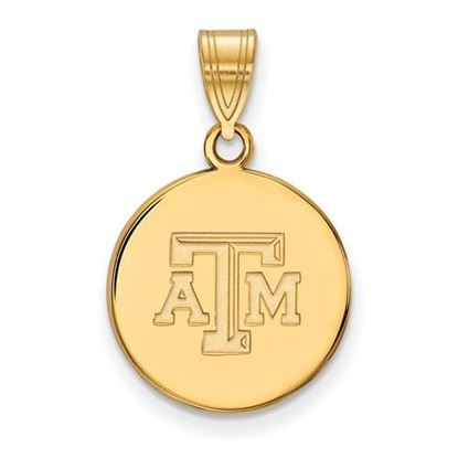 Picture of Texas A&M University Aggies Sterling Silver Gold Plated Medium Disc Pendant