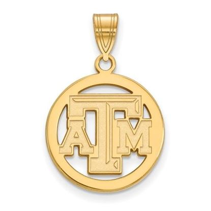 Picture of Texas A&M University Aggies Sterling Silver Gold Plated Small Circle Pendant