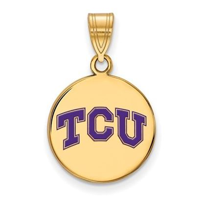 Picture of Texas Christian University Horned Frogs Sterling Silver Gold Plated Medium Enameled Disc Pendant