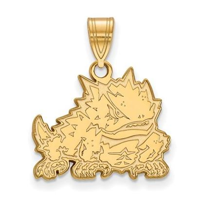 Picture of Texas Christian University Horned Frogs Sterling Silver Gold Plated Medium Pendant