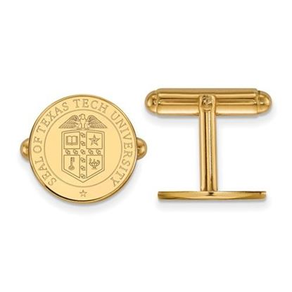 Picture of Texas Tech University Red Raiders Sterling Silver Gold Plated Crest Cuff Links
