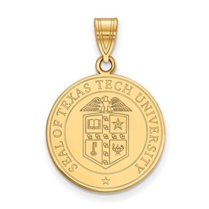 Picture of Texas Tech University Red Raiders Sterling Silver Gold Plated Large Crest Pendant