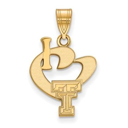 Picture of Texas Tech University Red Raiders Sterling Silver Gold Plated Large I Love Logo Pendant