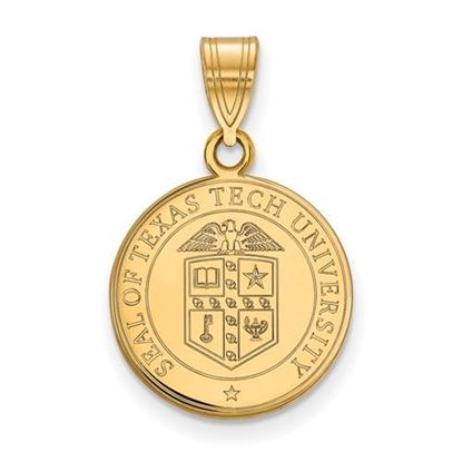Picture of Texas Tech University Red Raiders Sterling Silver Gold Plated Medium Crest Pendant