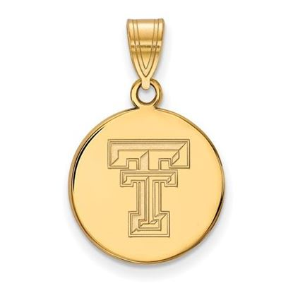 Picture of Texas Tech University Red Raiders Sterling Silver Gold Plated Medium Disc Pendant