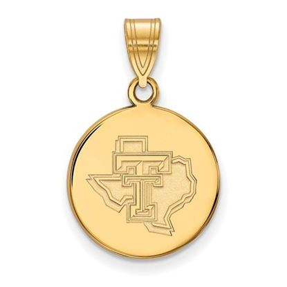 Picture of Texas Tech University Red Raiders Sterling Silver Gold Plated Medium Pendant