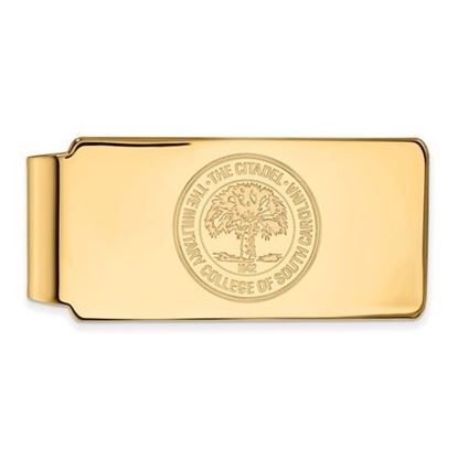 Picture of The Citadel Bulldogs Sterling Silver Gold Plated Crest Money Clip
