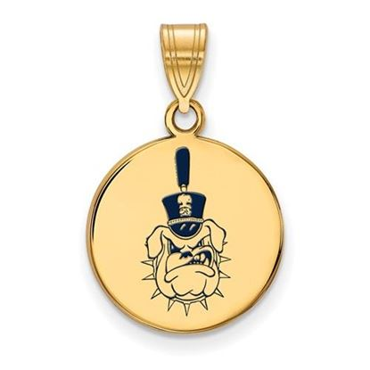 Picture of The Citadel Bulldogs Sterling Silver Gold Plated Medium Enameled Disc Pendant