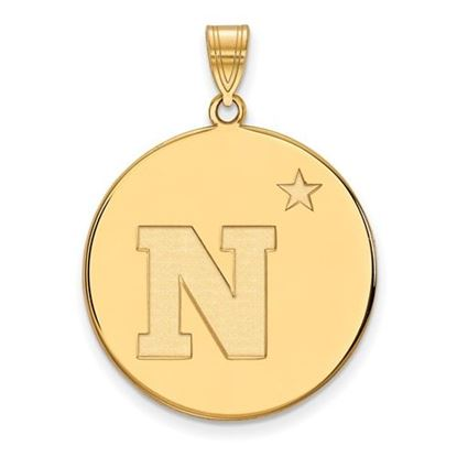 Picture of U.S. Naval Academy Midshipmen Sterling Silver Gold Plated Extra Large Disc Pendant