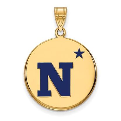 Picture of U.S. Naval Academy Midshipmen Sterling Silver Gold Plated Large Enameled Disc Pendant