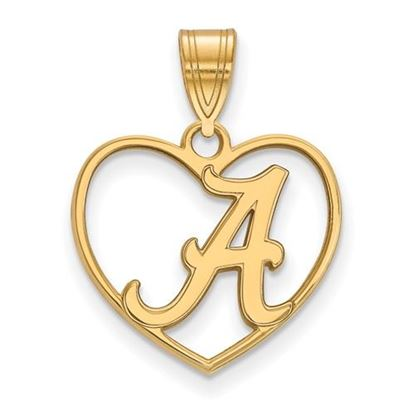 Picture of University of Alabama Crimson Tide Sterling Silver Gold Plated Heart Pendant