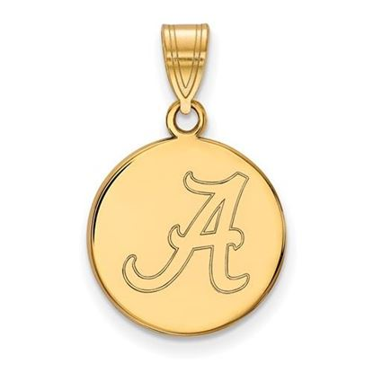 Picture of University of Alabama Crimson Tide Sterling Silver Gold Plated Medium Disc Pendant