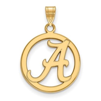Picture of University of Alabama Crimson Tide Sterling Silver Gold Plated Small Circle Pendant