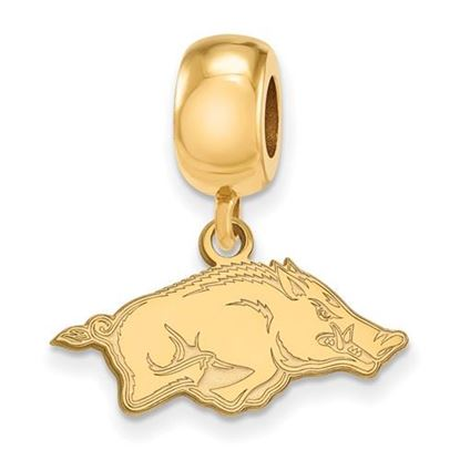 Picture of University of Arkansas Razorbacks Sterling Silver Gold Plated Extra Small Bead Charm
