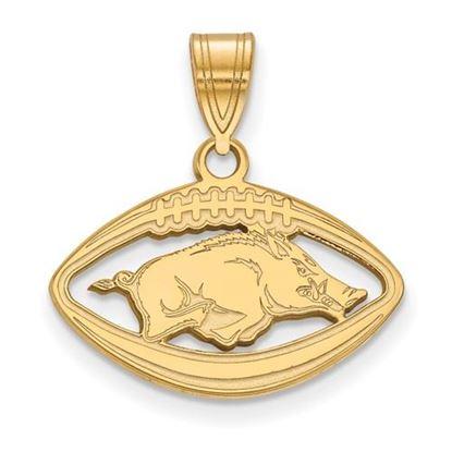 Picture of University of Arkansas Razorbacks Sterling Silver Gold Plated Football Pendant