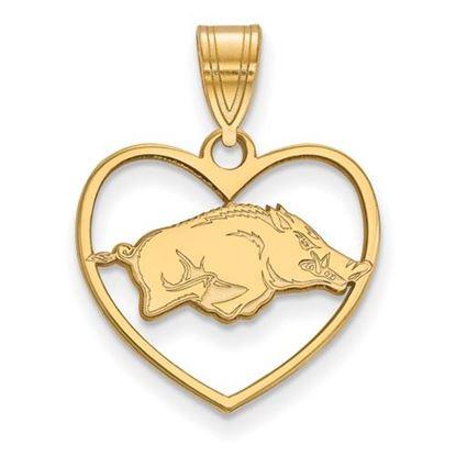 Picture of University of Arkansas Razorbacks Sterling Silver Gold Plated Heart Pendant