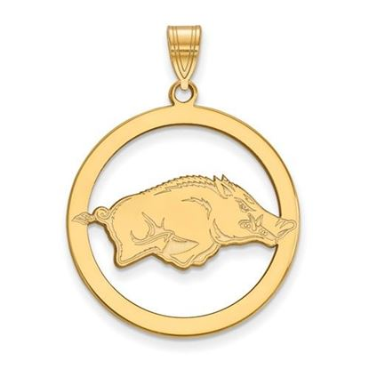 Picture of University of Arkansas Razorbacks Sterling Silver Gold Plated Large Circle Pendant