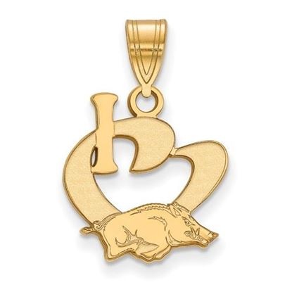 Picture of University of Arkansas Razorbacks Sterling Silver Gold Plated Large I Love Logo Pendant