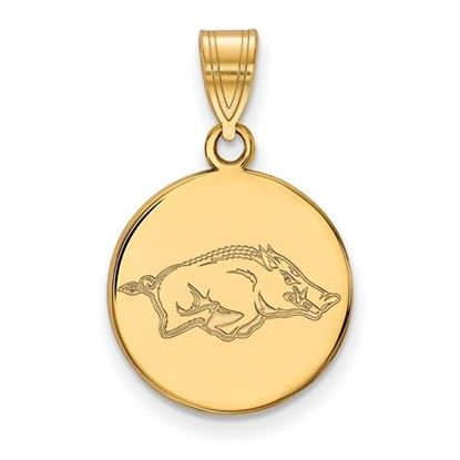 Picture of University of Arkansas Razorbacks Sterling Silver Gold Plated Medium Disc Pendant