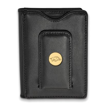 Picture of University of Arkansas Razorbacks Sterling Silver Gold Plated Black Leather Wallet