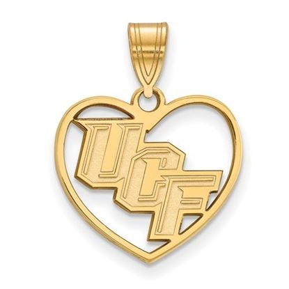 Picture of University of Central Florida Knights Sterling Silver Gold Plated Heart Pendant