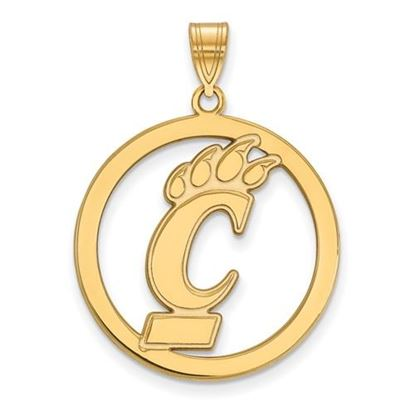 Picture of University of Cincinnati Bearcats Sterling Silver Gold Plated Large Circle Pendant
