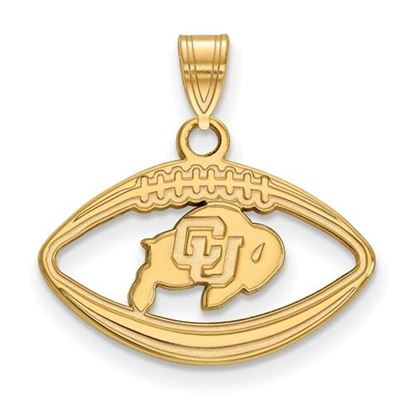 Picture of University of Colorado Buffaloes Sterling Silver Gold Plated Football Pendant