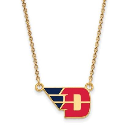 Picture of University of Dayton Flyers Sterling Silver Gold Plated Small Enameled Necklace