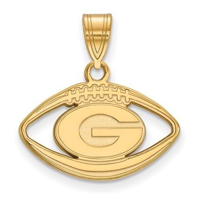 Picture of University of Georgia Bulldogs Sterling Silver Gold Plated Football Pendant